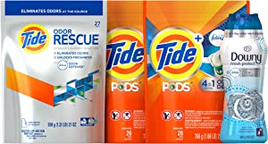 Tide + Downy Odor Defense Laundry Bundle (52 Loads): Tide Pods Laundry Detergent, Tide Odor Rescue In-Wash Additive, Downy Fresh Protect Beads