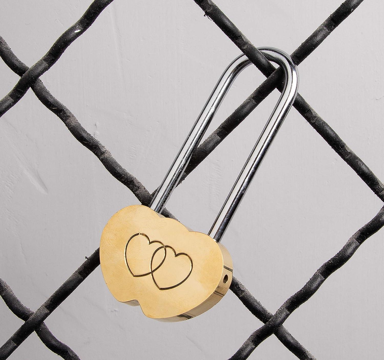 9 cm Uteruik Candado de lat/ón macizo con doble coraz/ón para enamorados