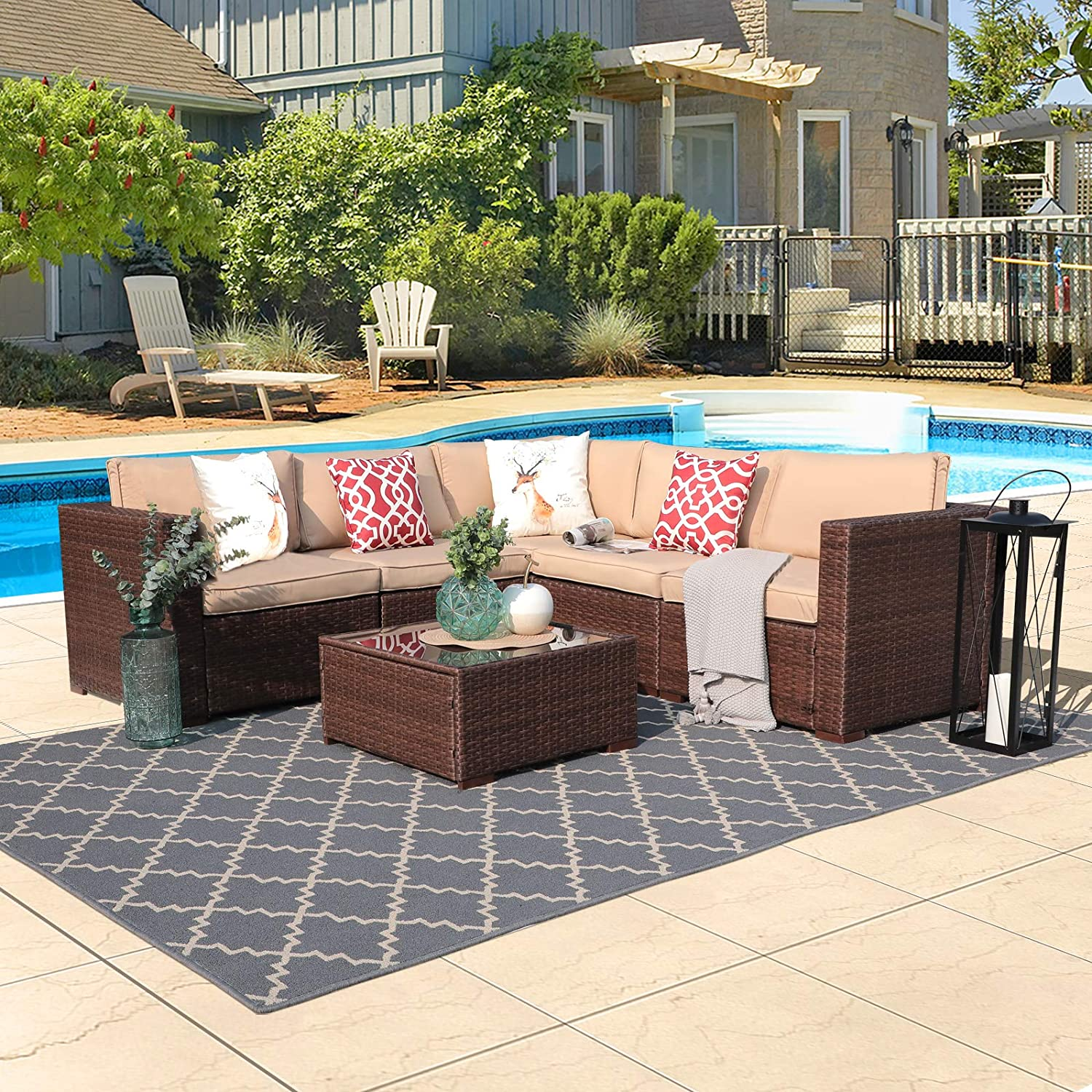 Super Patio 6 Piece Patio Furniture, All Weather PE Espresso Brown Wicker Outdoor Funiture with Glass Coffee Table, Steel Frame, Beige Cushions