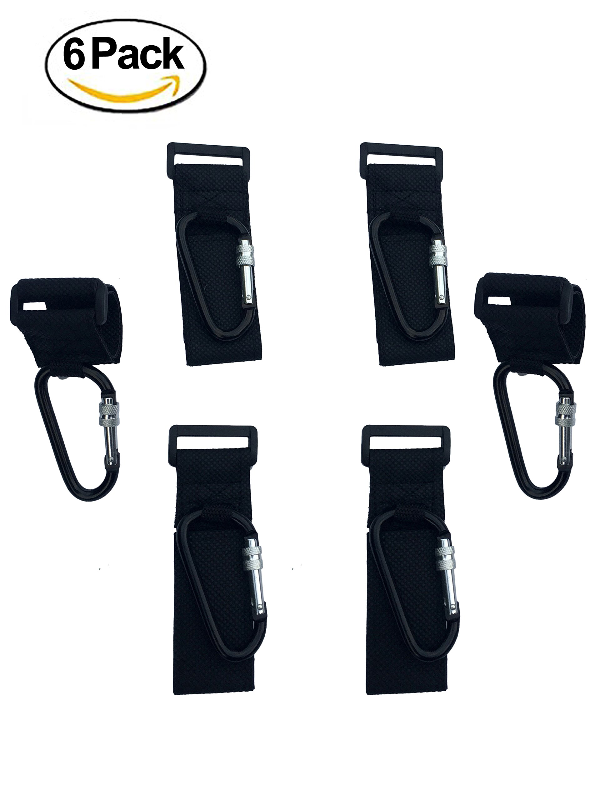 ALTINIFY Black Stroller Hook Clip with Lock – 6 Pack of Multi Purpose Hooks - Hanger for Baby Diaper Bags, Groceries, Clothing, Purse – Ideal for Mommy and Dad When Jogging, Walking or Shopping