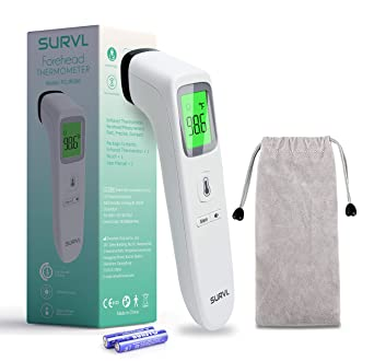 Precision Digital Temporal Thermometer with Fever Indicator Medical Forehead Infrared Thermometer for Baby Kids and Adults White Thermometer CE Approved No Touch