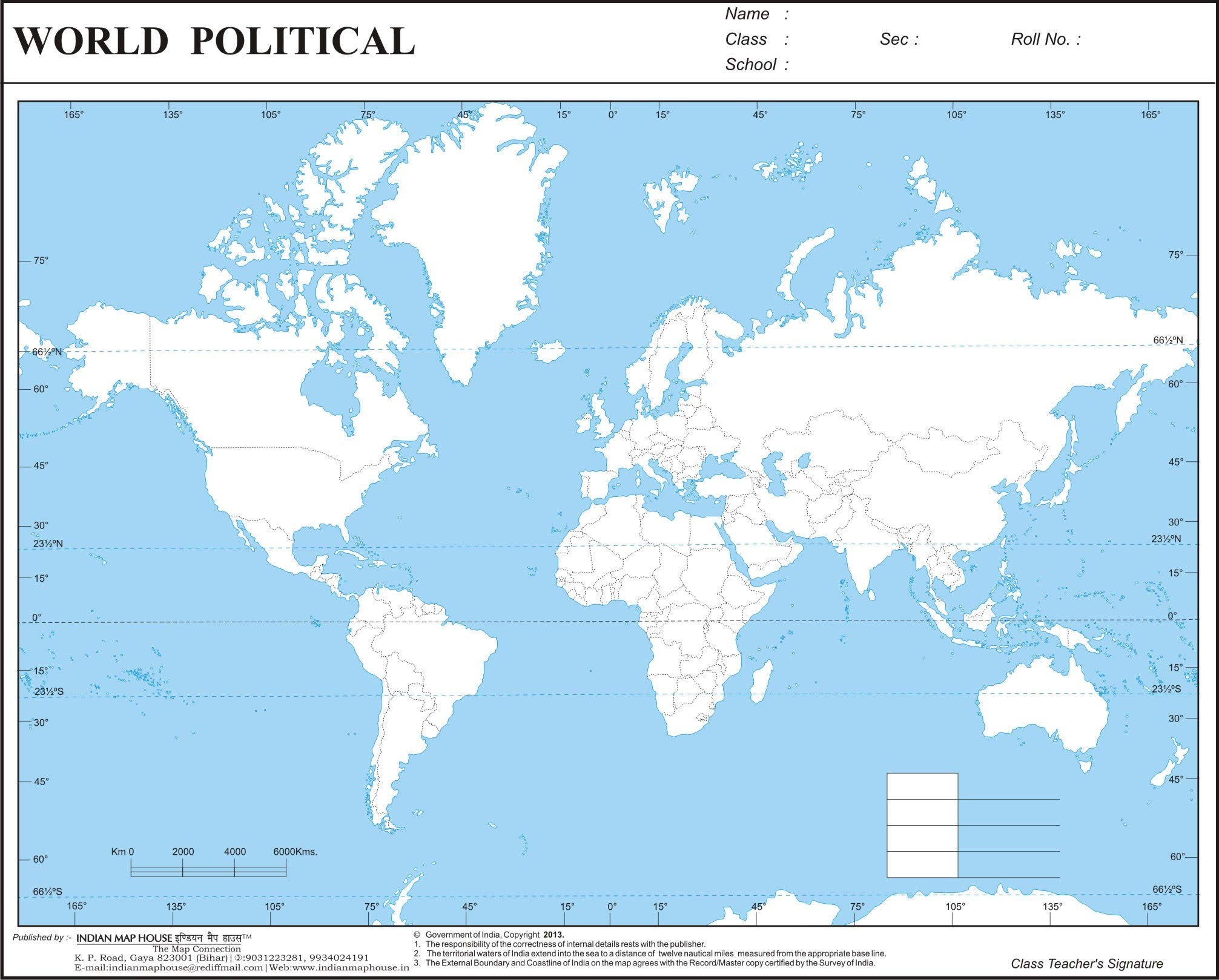 Political Map Of The World 2015.Amazon In Buy Imh World Political Practice Map A4 Size Set Of