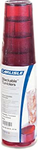 Carlisle 5216-8110 BPA Free Plastic Stackable Tumbler, 16 oz., Ruby (Pack of 6)