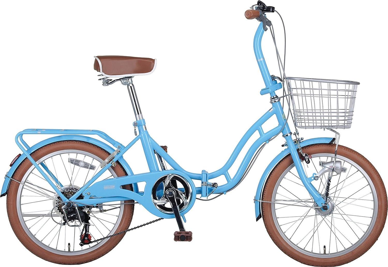 キャプテンスタッグ(CAPTAIN STAG) ホワイトニングバレイ 20インチ 折りたたみ自転車 FDB206 [ シマノ6段変速 / LEDオートライト / リング錠 / リアキャリア / 前後泥よけ ]標準装備 B00XRT3QT8 ブルー ブルー