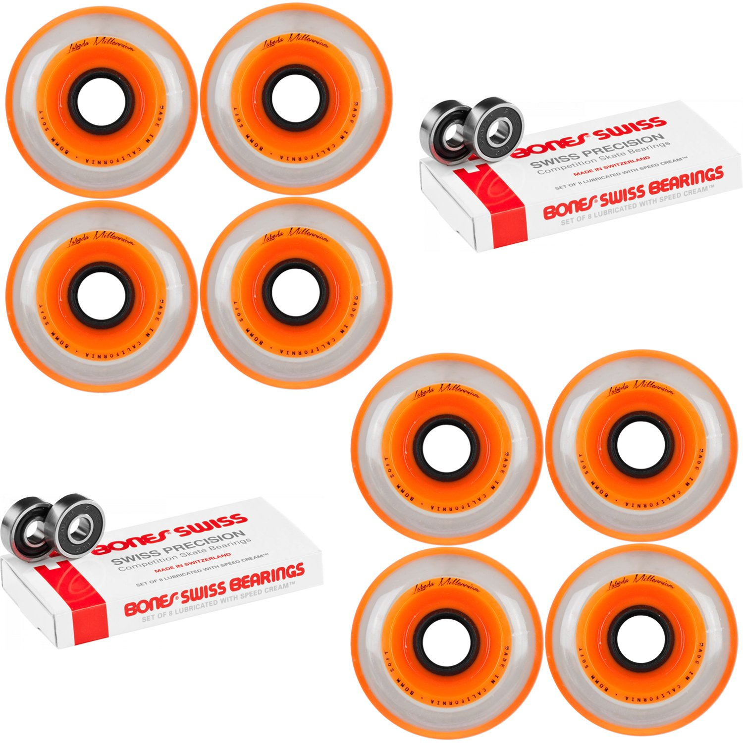 Labeda Millennium Gripper Orange Hockey Inline Wheels 80mm SOFT 8 Pack Swiss by Labeda