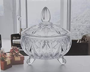 Elegant Glass Sugar Bowl Candy Dish With Cover Ideal for Everyday and Party Use