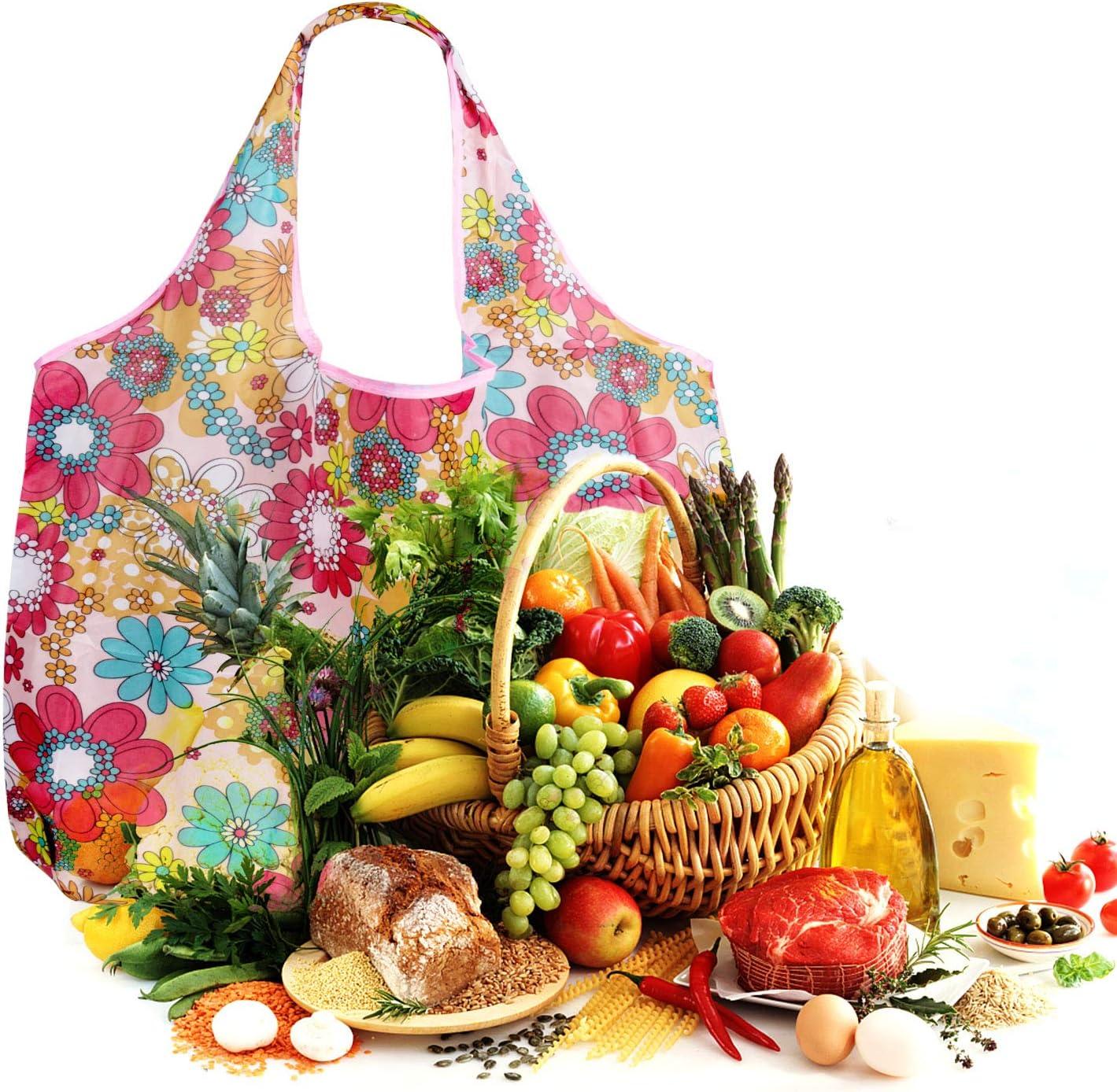 Lot de 4 Czemo Sac de Courses Pliable Sac /à provisions R/éutilisable Sacs d/épicerie pour Fruits et L/égumes