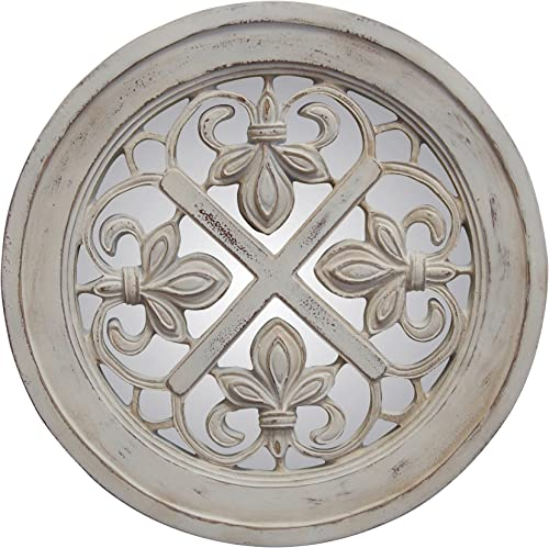 Hickory Manor House Fleur De Lis Mirror, Old World White