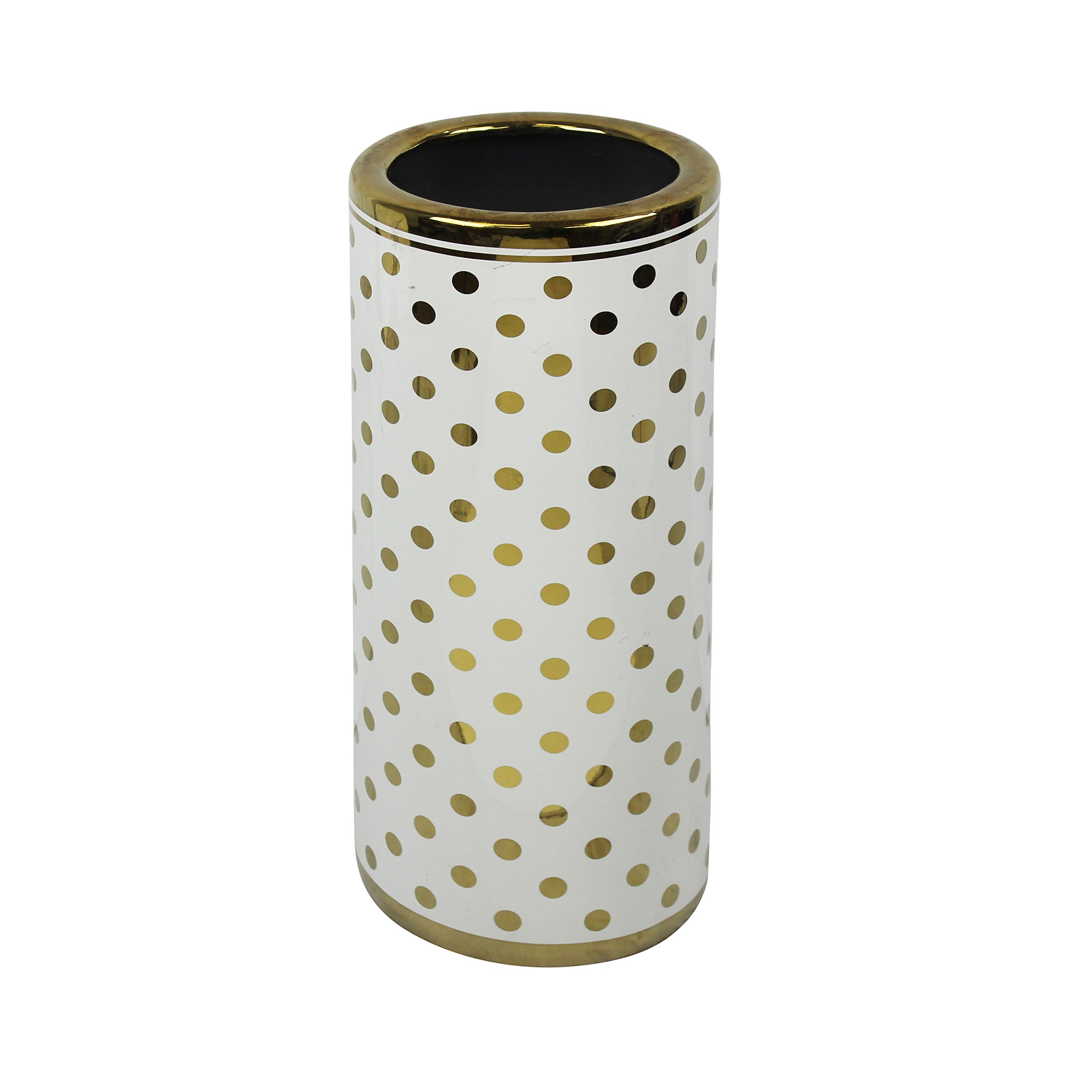 Sagebrook Home Decorative Ceramic Umbrella Stand, 7.75x7.75x18, White/Gold