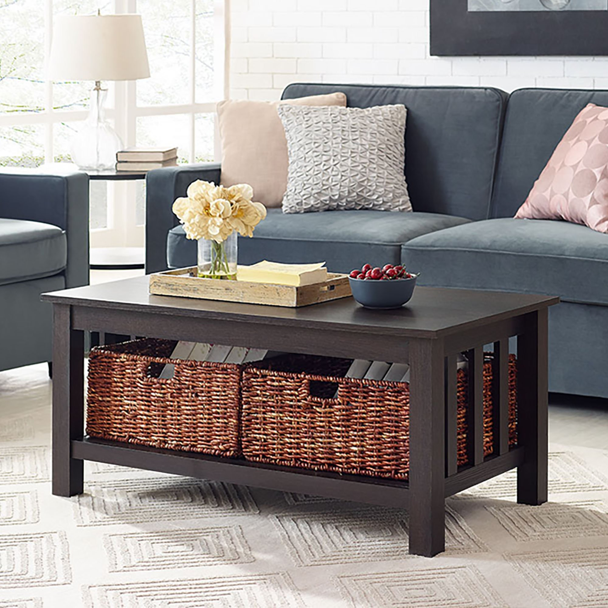 WE Furniture 40'' Wood Storage Coffee Table with Totes - Espresso, 40'',