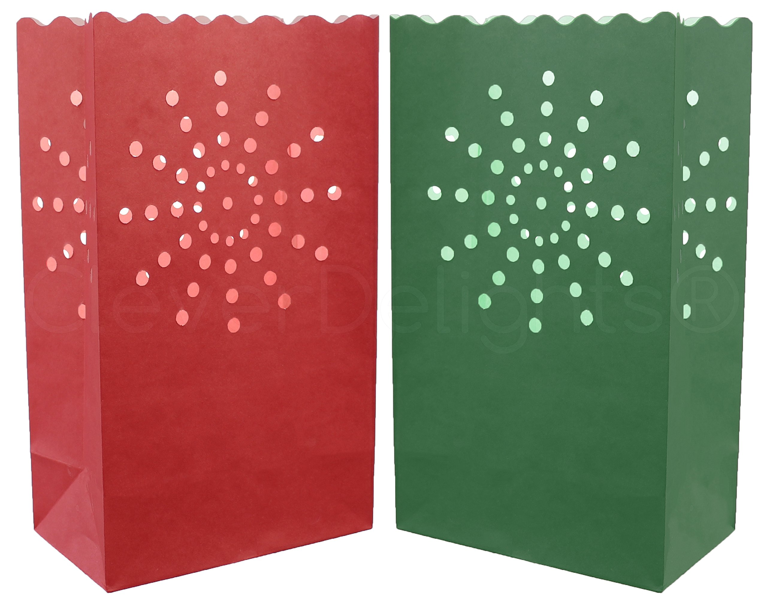 20 Pk - CleverDelights Red & Green Luminary Bags - Sunburst - Flame Resistant Christmas Holiday Luminaria by CleverDelights