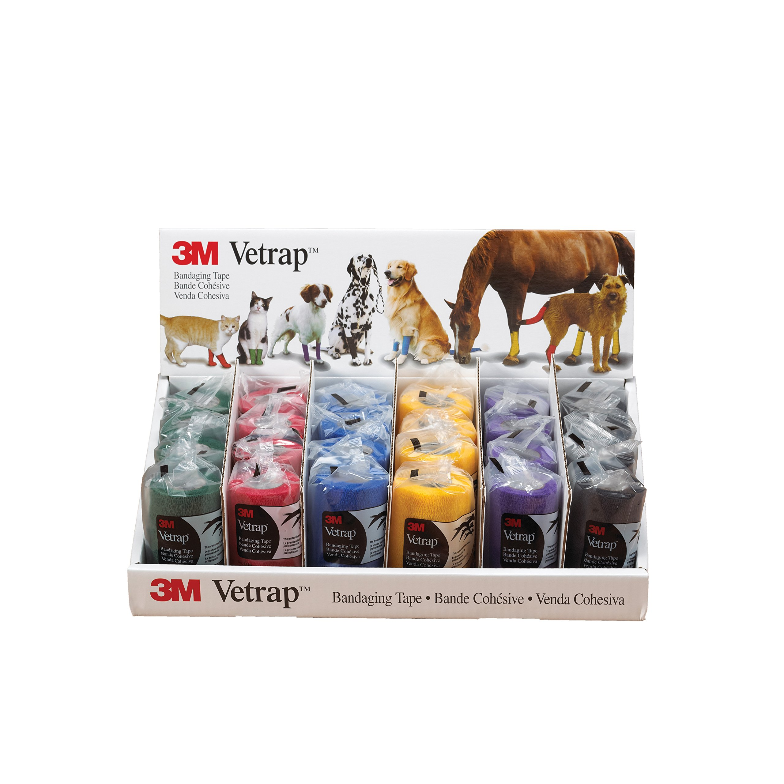 3M Vetrap 6-Color Display Tape for Dogs, Cats and Horses, 4-Inch, Assorted, 24-Roll/Display by 3M