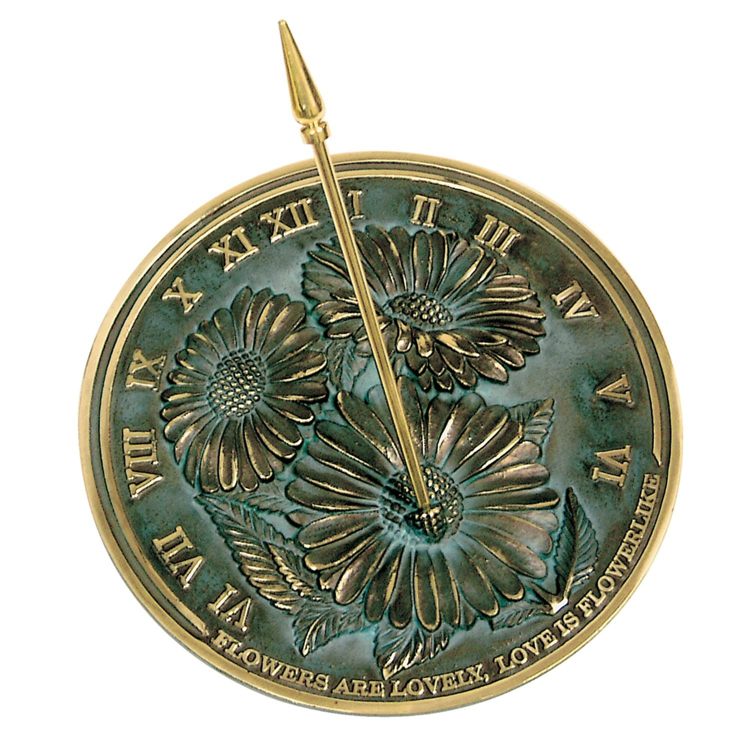 Rome 2302 Flowers Sundial, Solid Brass with Verdigris Highlights, 10-Inch Diameter by Rome