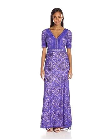 ca8acc5e3df Amazon.com  Tadashi Shoji Women s Short Sleece Lace Illusion Gown ...