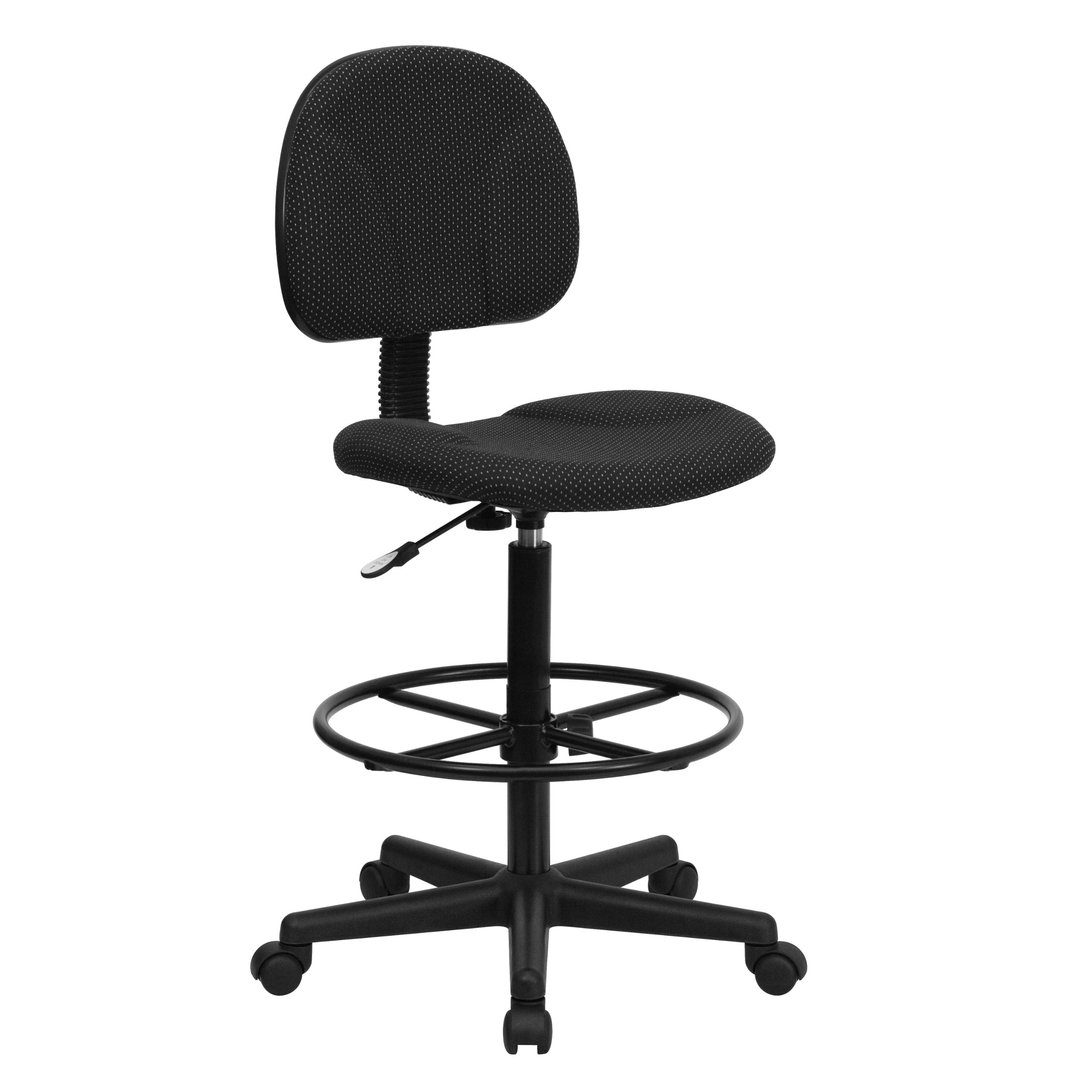 Flash Furniture Black Patterned Fabric Drafting Chair (Cylinders: 22.5''-27''H or 26''-30.5''H) by Flash Furniture