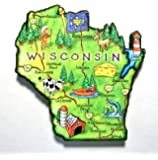Wisconsin the Badger State Artwood Jumbo Fridge Magnet