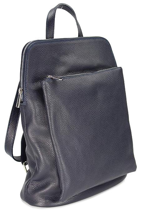 282dccac4ef Belli 656 - Bolso mochila de Cuero para mujer Azul azul oscuro  Amazon.es   Zapatos y complementos