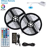LED Light Strip, 26.25ft / 8 Meter 240LEDs 5050SMD RGB Flexible LED Strip Lamp Full Kit with 44Keys Remote Controller and 12V 6A Power Supply by MIBOTE (26.25ft / 8 Meter)
