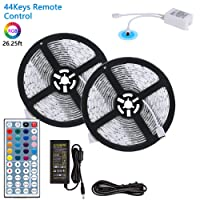 LED Light Strip, 26.25ft / 8 Meter 240LEDs 5050SMD RGB Flexible LED Strip Lamp Full Kit with 44Keys Remote Controller and 12V 6A Power Supply by MIBOTE