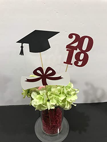 Graduation party decorations 2019 Graduation Centerpiece Sticks,  Grad,Cap,Diploma, class of 2019, graduation decorations, prom 2019, red  graduation