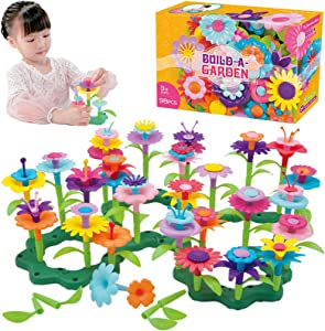 QHTOY DHSM Flower Toys,Flower Garden Building Toys 3, 4, 5 Year Old Toddler,Build a Bouquet Floral Arrangement Playset for Toddlers and Kids Age ,Best Christmas Birthday Gifts for Creativity Play