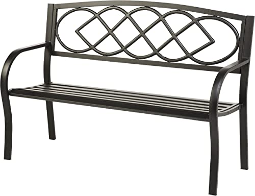 Celtic Knot Patio Garden Bench Park Yard Outdoor Furniture, Cast and Tubular Iron Metal, Powder Coat Black Finish, Classic Decorative Design, Easy Assembly 50 L x 17 1 2 W x 34 1 2 H