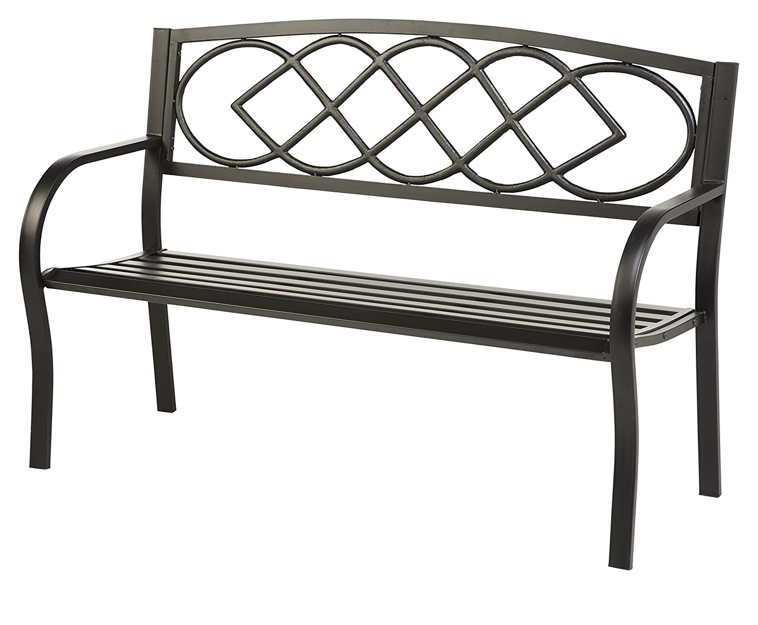 Celtic knot patio garden bench park yard outdoor furniture cast and tubular iron metal powder coat black finish classic decorative design easy assembly