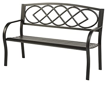 Plow U0026 Hearth Celtic Knot Patio Garden Bench Park Yard Outdoor Furniture,  Cast And Tubular