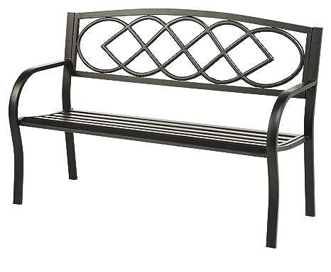 Amazon.com : Celtic Knot Patio Garden Bench Park Yard Outdoor Furniture,  Cast And Tubular Iron Metal, Powder Coat Black Finish, Classic Decorative  Design, ...
