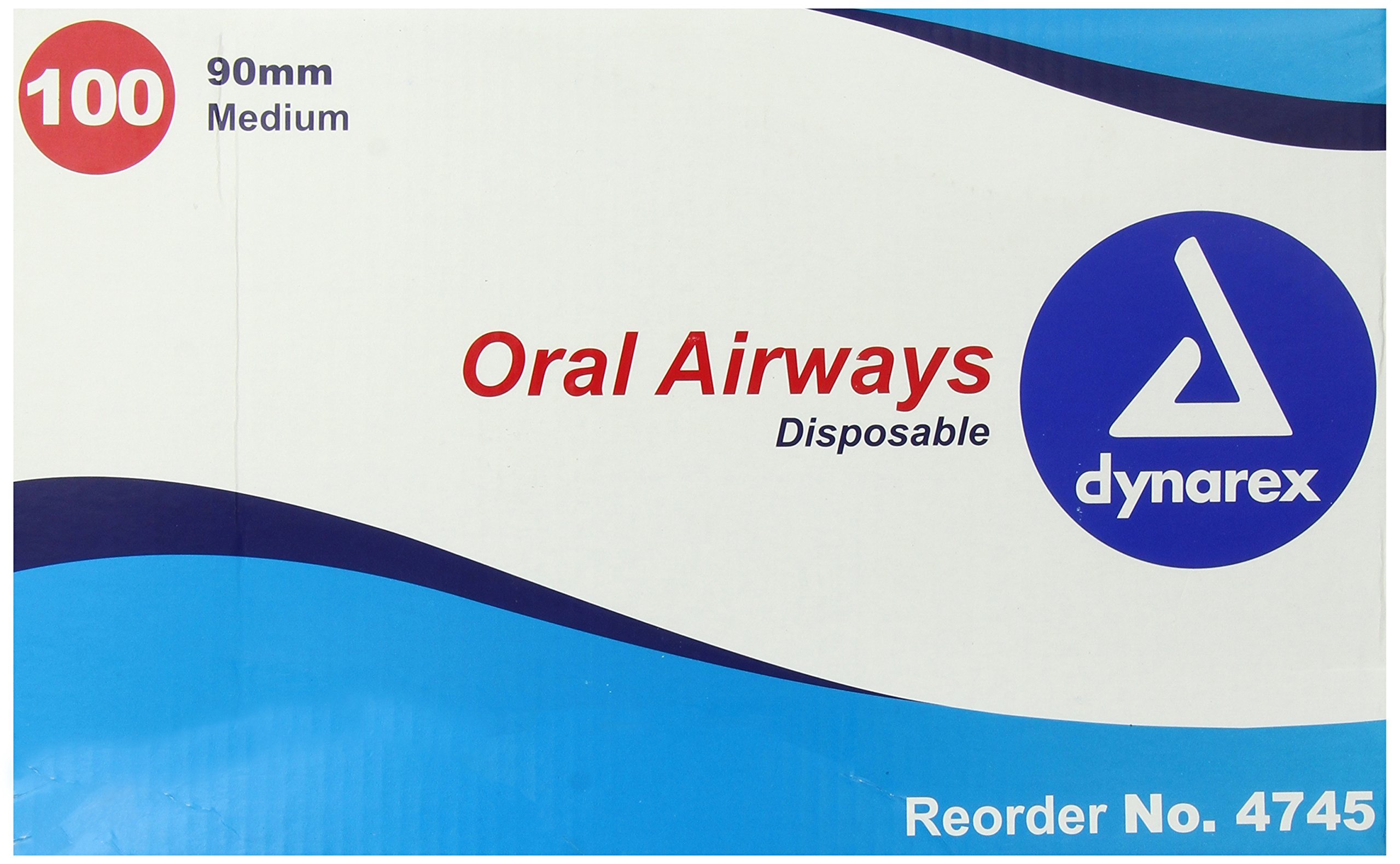 Dynarex Oral Airways (Berman Type) 90mm, Medium Yellow 100/Cs by Dynarex