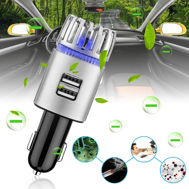 Delaman Car Air Freshener 2 in 1 Anion Air Purifier Diffusers, Dual 2.1A USB Charger Port