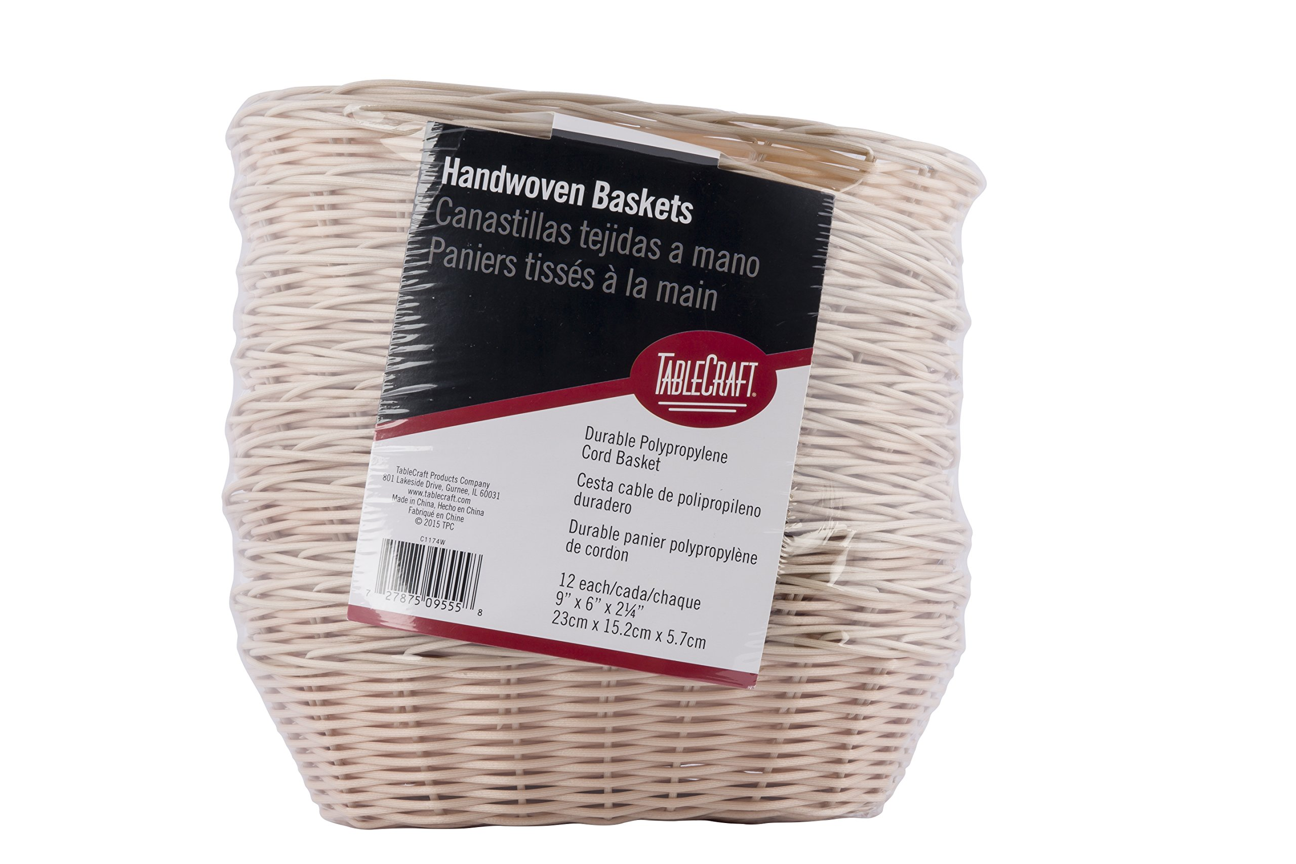 TableCraft Products C1174W Basket, Oval, Natural, 9'' x 6'' x 2.25'' (Pack of 12)