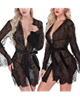 NINGMI Womens Lace Lingerie Babydoll Kimono Robe Mesh Nightgown Sleepwear Chemise