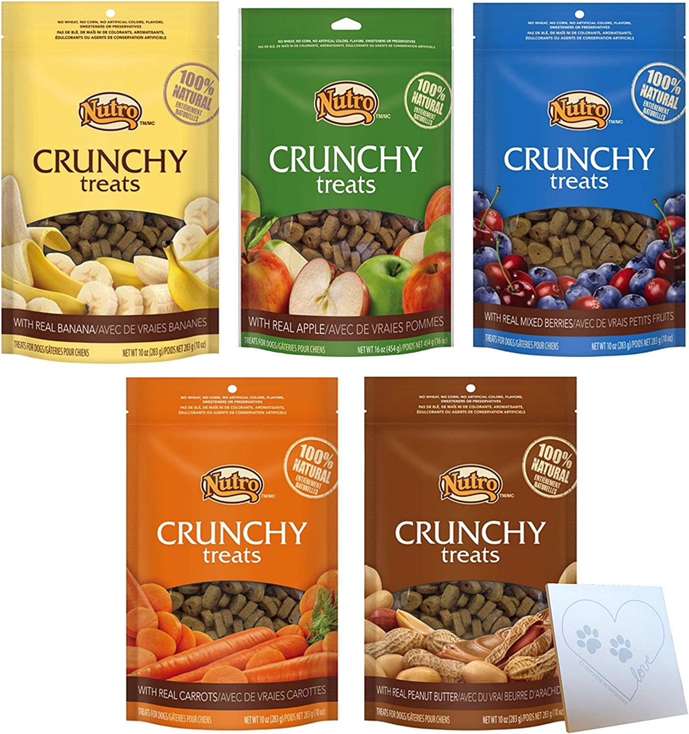 Nutro All Natural Crunchy Training Treats for Dogs 5 Flavor Variety Bundle 1 Peanut Butter, 1 Banana, 1 Carrot, 1 Mixed Berries, 1 Apple, 1 Pet Paws Notepad 10 Oz. Ea. 5 Bags Total