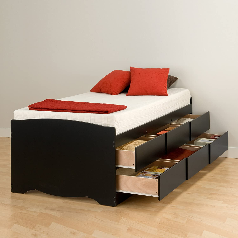 Amazon Com Prepac Tall Twin Sonoma Platform Storage Bed With 6
