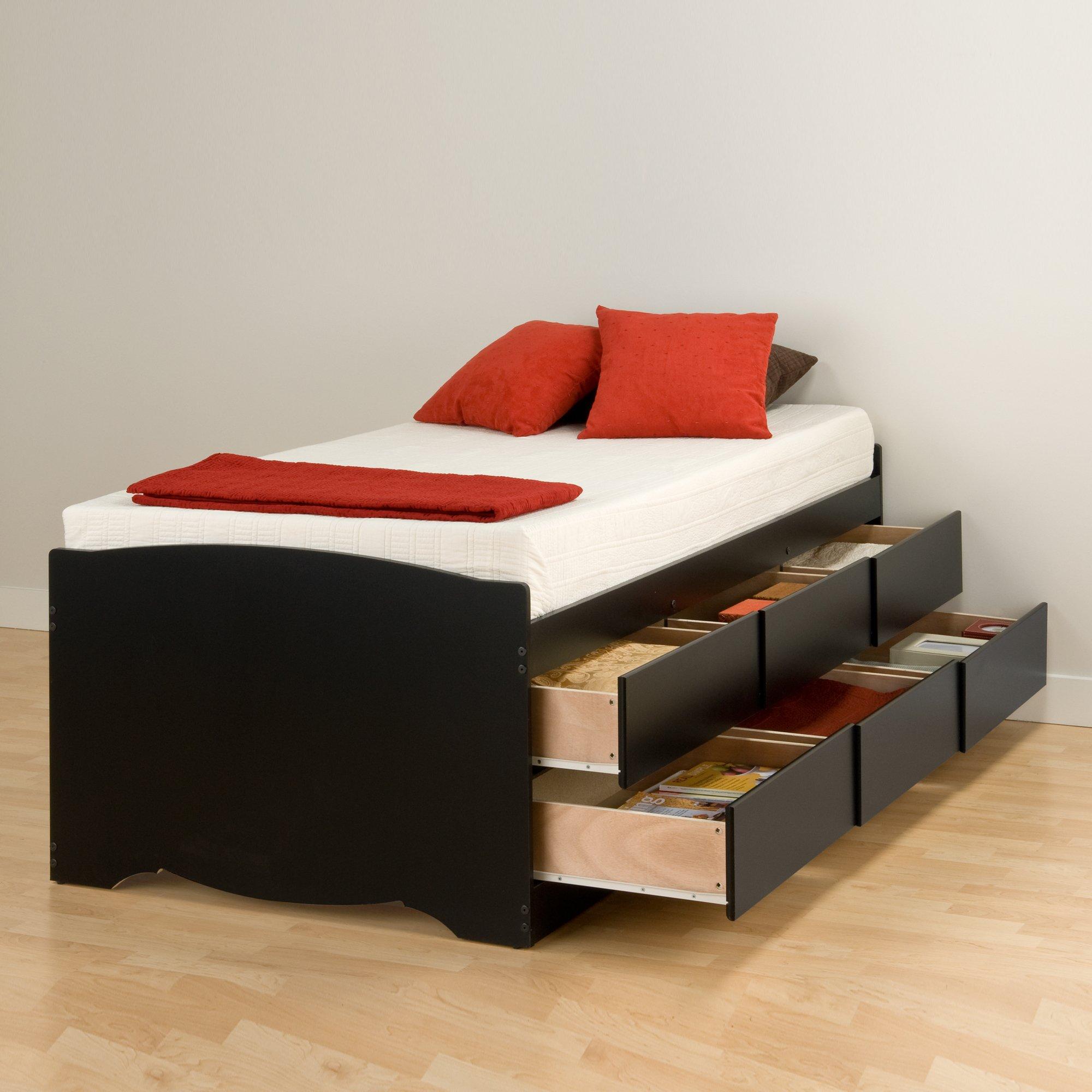 Prepac BBT-4106 Tall Twin Sonoma Platform Storage Bed with 6 Drawers, Black Mattress, by Prepac