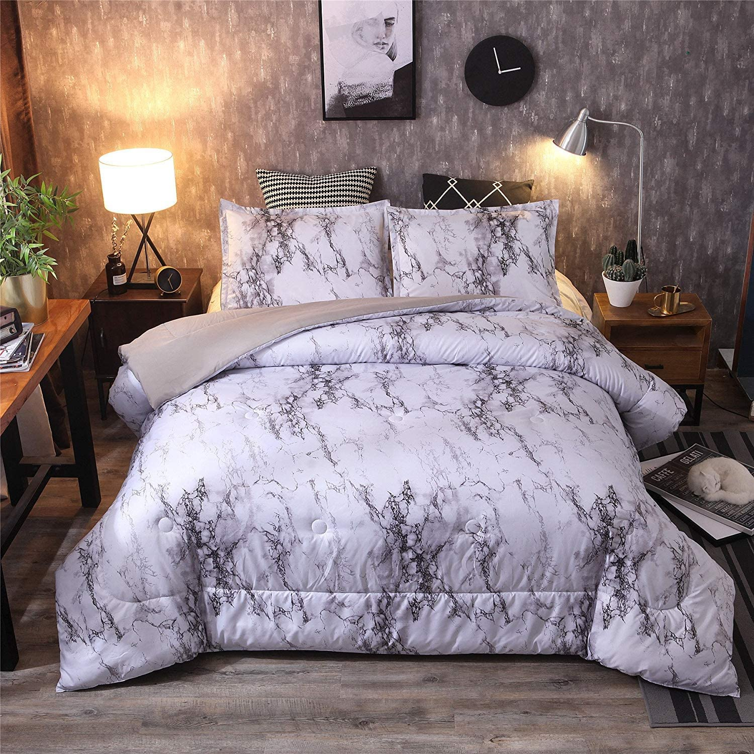 Purple-Marble A Nice Night Marble Design Quilt Comforter Set Bed-in-a-Bag,Queen