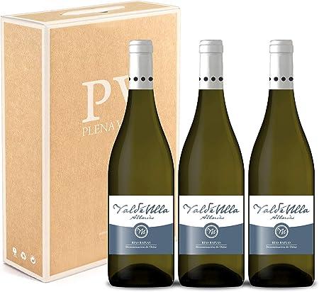 Vino Blanco Albariño Rias Baixas 100%. Albariño Gallego pack estuche 3 botellas VALDEULLA 75cl.