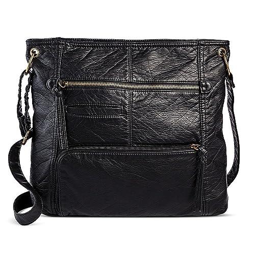 32fc4b9da19 Bueno Women s Faux Leather Crossbody Handbag (Black)  Handbags ...