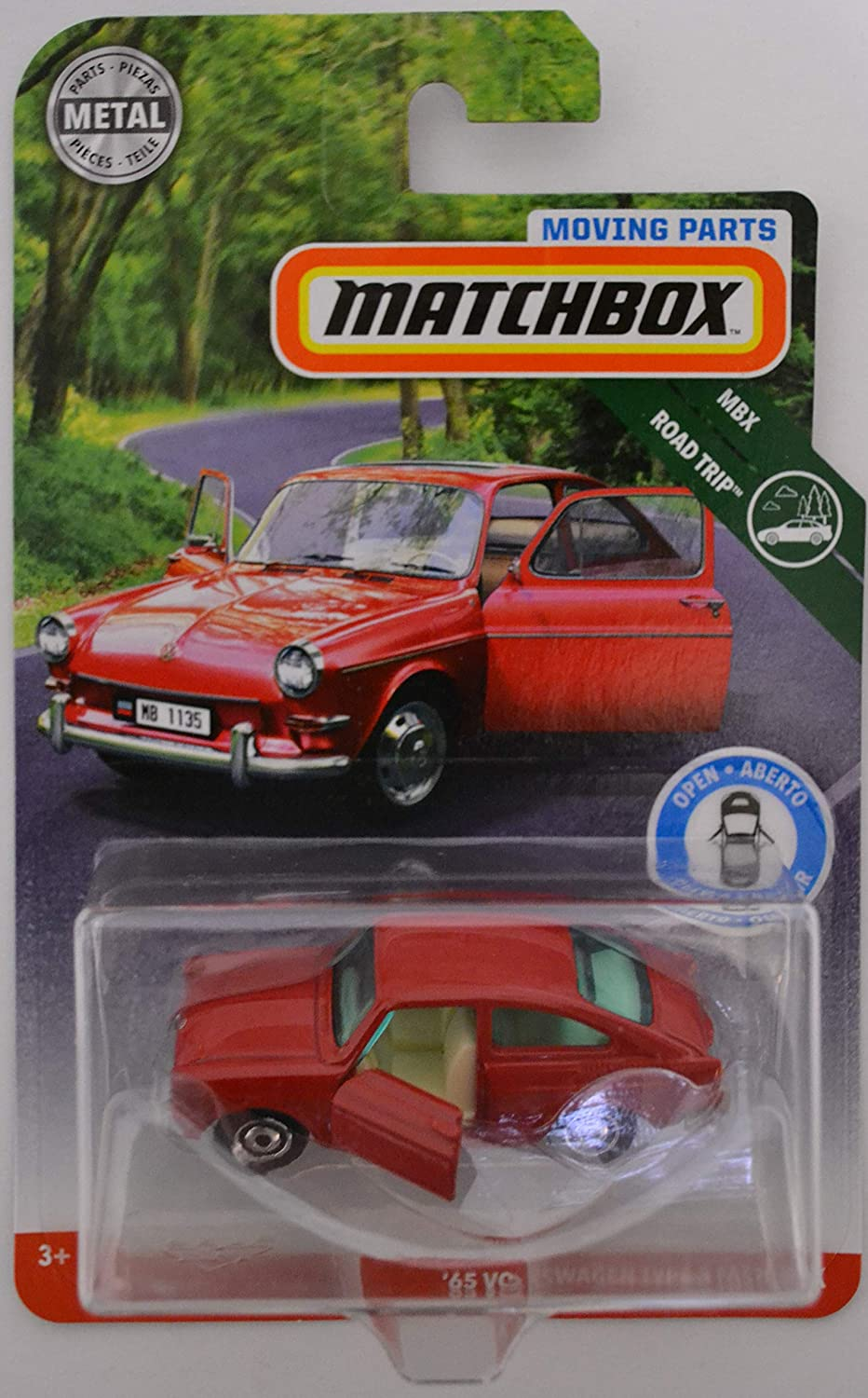 Matchbox Red '65 Volkswagen Type 3 Fastback 2018 Moving Parts Road Trip  Series 1:64 Scale Collectible Die Cast Metal Toy Car Model with Opening  Doors