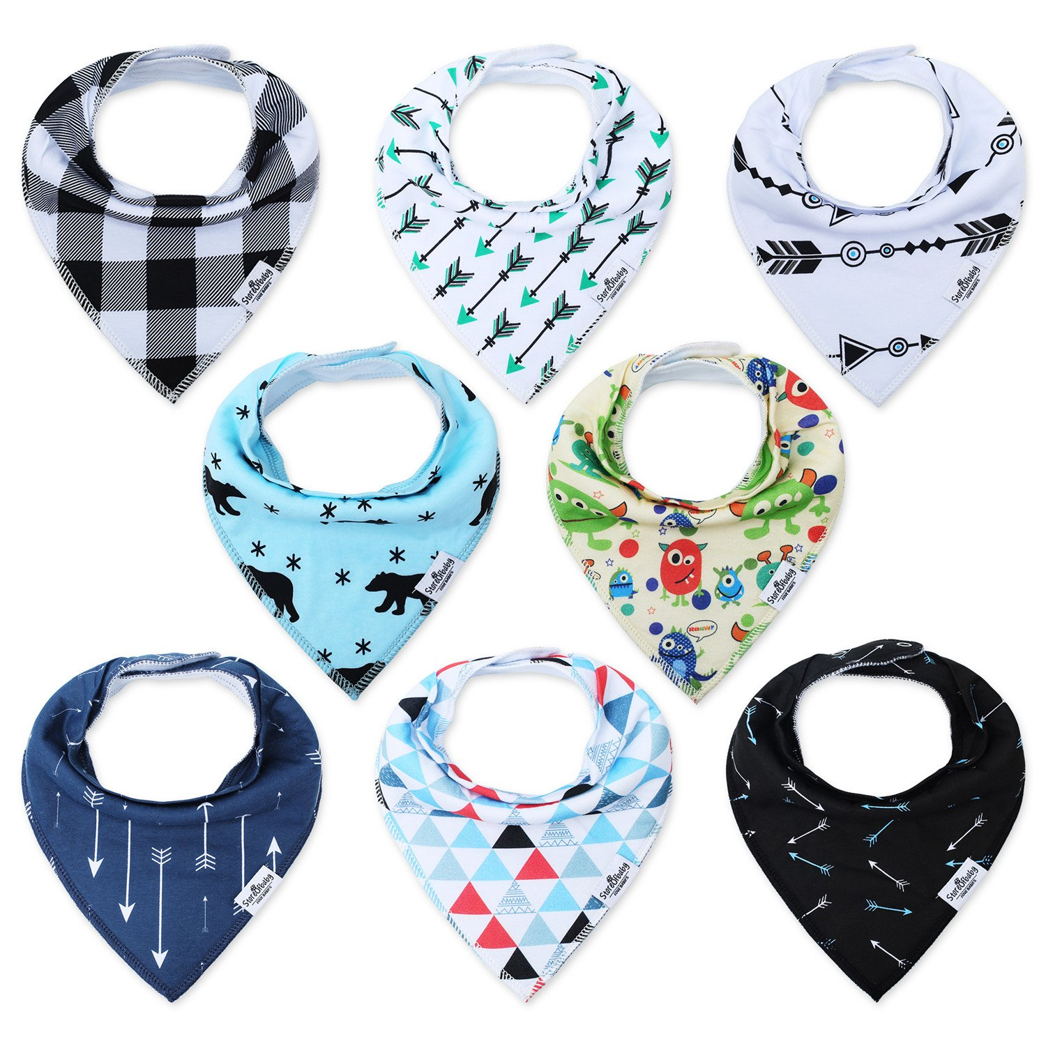 Storeofbaby Baby Bandana Bibs for Boys Drooling Feeding Super Absorbent 8 Pack Babybibs-8pcs-ca