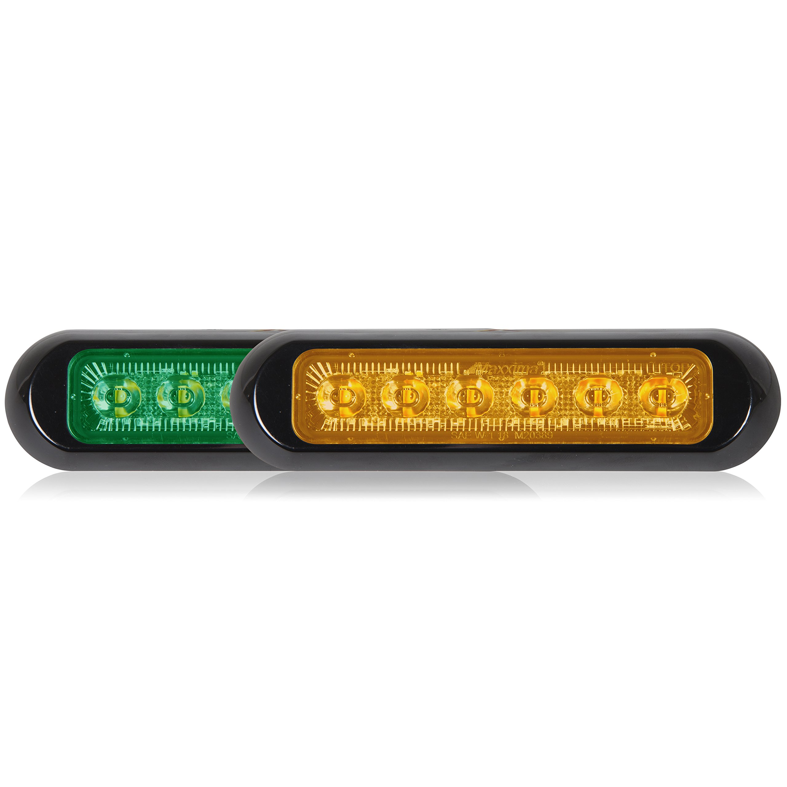 Maxxima M20389GYCL-DC Thin Low Profile Dual Color LED Warning Light Green/Amber Clear Lens