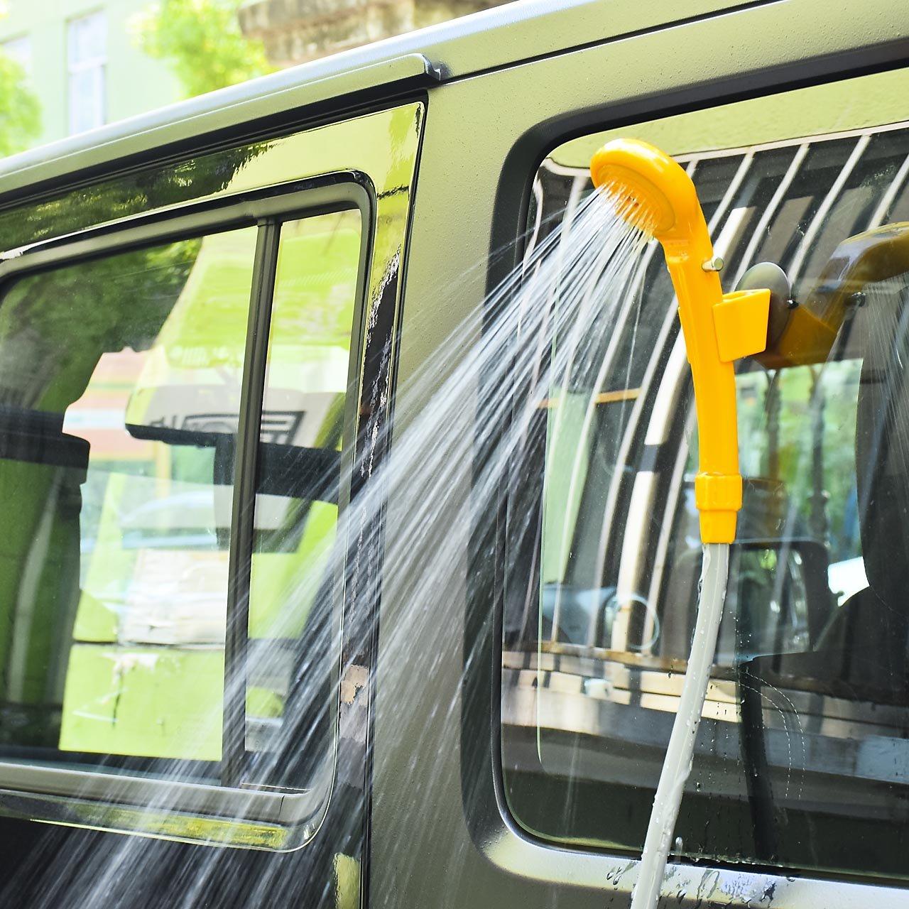 DEDC Outdoor Doccia Portatile da Campeggio 12V Portable Auto Doccia Elettrica con Tubo Flessibile Arancia