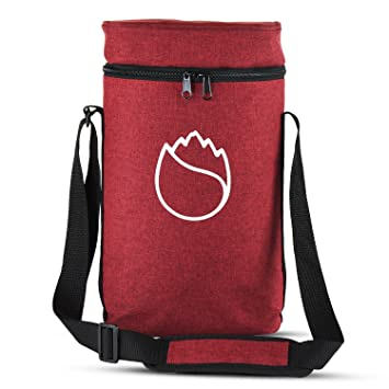 Freshore - Bolsa de transporte de botellas de vino aislada, de viaje, portátil, acolchada, refrigeradora, de lona, correa de hombro ajustable