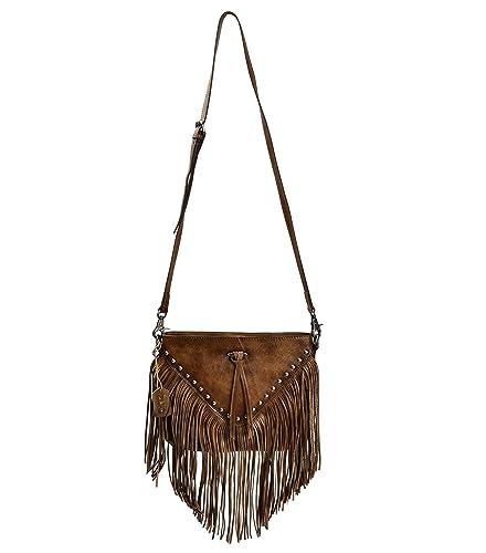 f7f16b314d3c ZLYC Women Handmade Dip Dye Leather Fringe Bohemian Tassel Bag Studed Cross  Body Bag