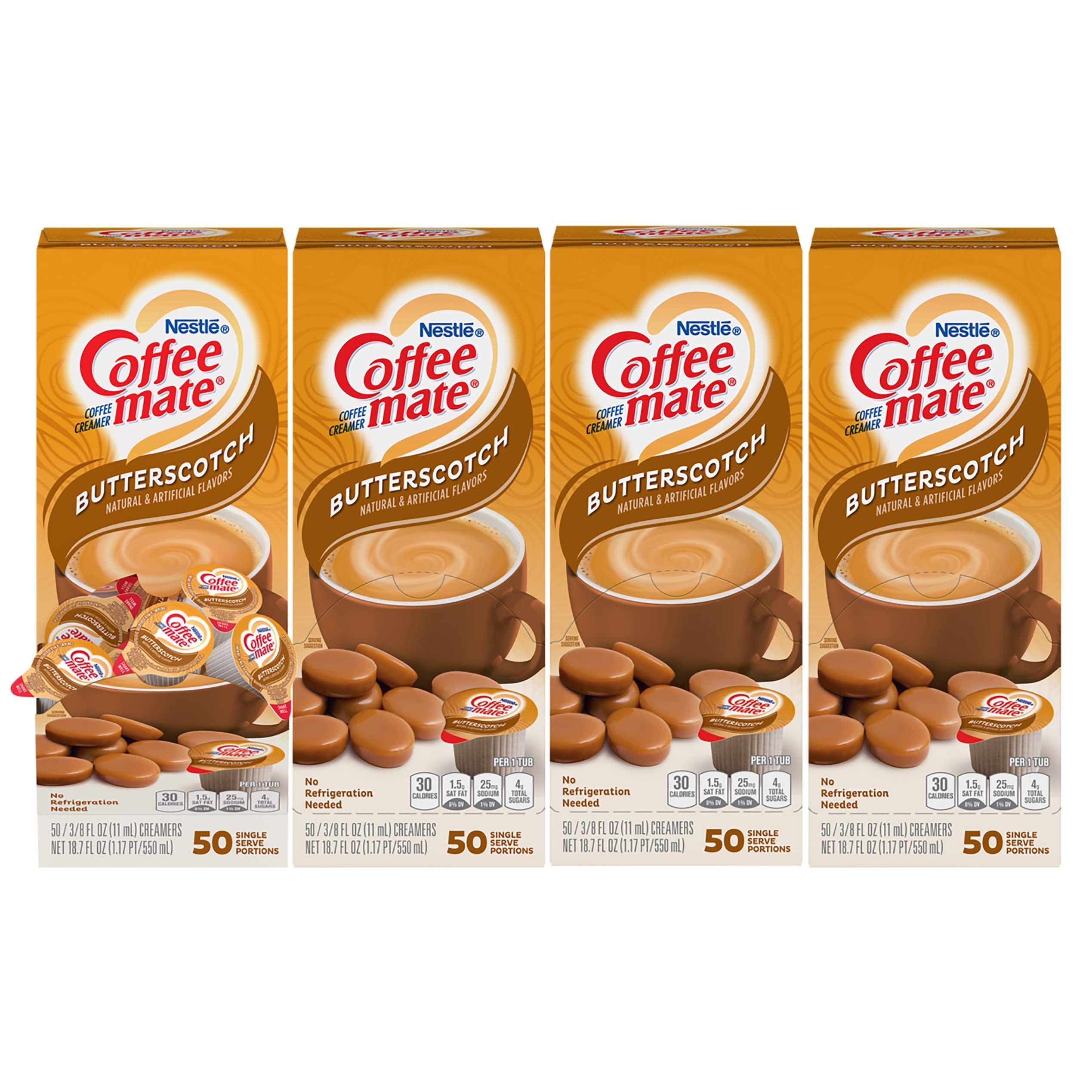 Nestle Coffee mate Coffee Creamer, Butterscotch Liquid Creamer Singles, Non Dairy, No Refrigeration, Box of 50 Singles (Pack of 4)