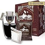 Twin Peaks Premium 100% All Natural Single-Serve Pour Over Colombian Arabica Coffee, Non GMO, Office Coffee 10 Pouches