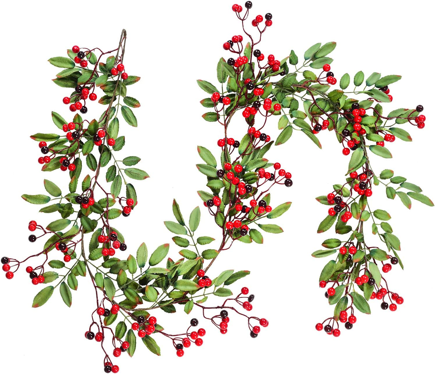 DearHouse 5.83 Ft Red Berry Christmas Garland, Artificial Berry Garland for Indoor Outdoor Hone Fireplace Decoration for Winter Christmas Holiday New Year Decor