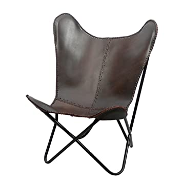 Fashion N You Butterfly Leather Chair, Brown Lounge Fold Able Stitches  Contemporary Outdoor Stool