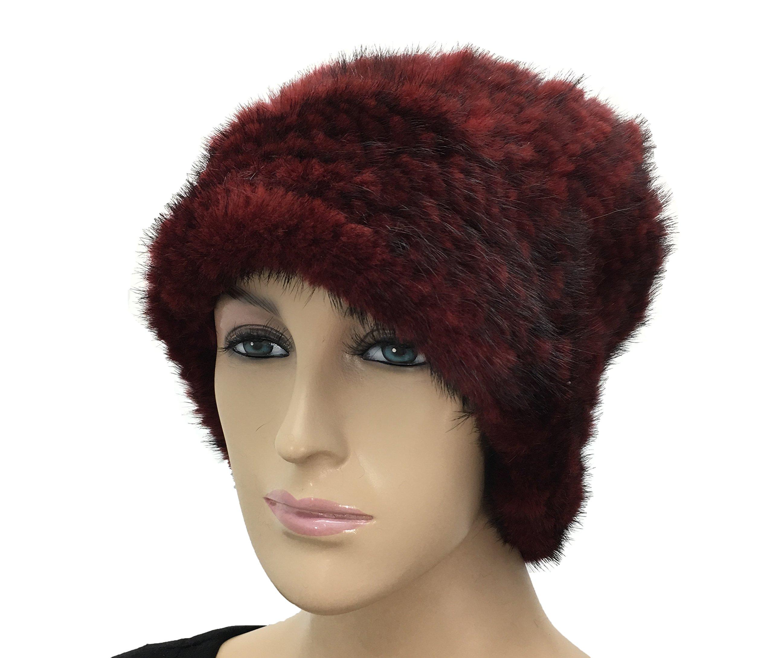 Hima Knit Mink Fur Roller Hat One Size 23'' (Burgandy)